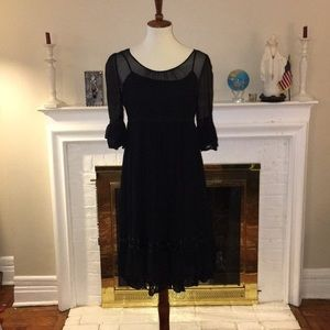 Juicy Couture Black silk lace cocktail dress